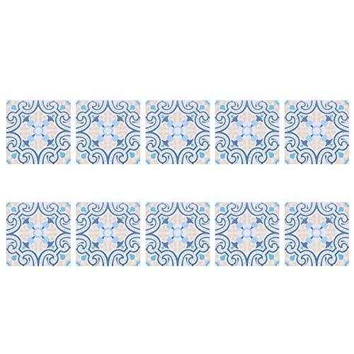 RANNYY Adhesivo de Pared de baldosas de cerámica de imitación de PVC, 10 Piezas de Adhesivos de Pared autoadhesivos a Prueba de Aceite Adhesivo Decorativo para Azulejos para baño de Cocina(BS72)