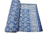 CRAFTOFPINKCITY Baumwolle Überwurf indischen Kantha Hand Block Print Quilt Indigo Baumwolle Kantha Quilt Jaipuri radschāʾī Überwurf 228,6x 274,3cm