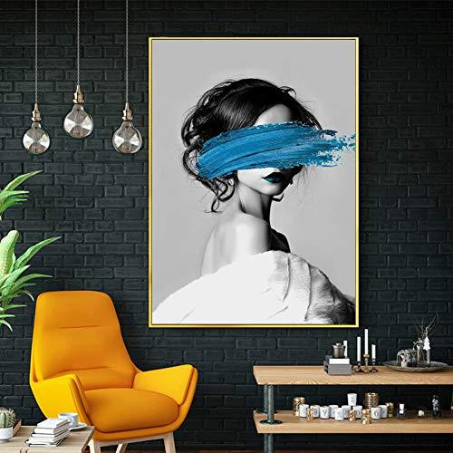 GUDOJK Dekorative Malerei Moderne Mädchen Make-up Leinwand Kunst Bild Schwarz und Weiß Poster und Drucke Abstrakte Figur Malerei für Damen Zimmer Leinwand Kunst-60x80cm