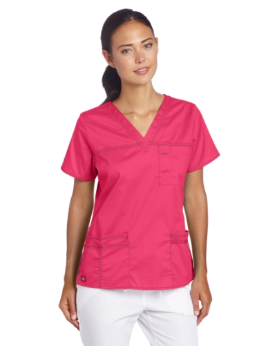 Dickies Damen GenFlex Junior Fit V-Ausschnitt Scrub Shirt - Pink - Mittel