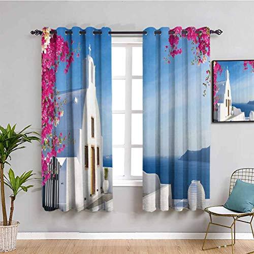 Cortina de tela de viaje Isla Santorini Griego Mediterráneo Costa del mar Paraíso Village Picture 2 conjuntos de paneles rosa caliente blanco cielo azul W52 x L63 pulgadas