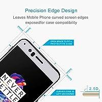 AYLSM OnePlus 5 0.26mm 9H表面硬度2.5D防爆シルクスクリーン強化ガラス全画面フィルム(ブラック) (Color : White)