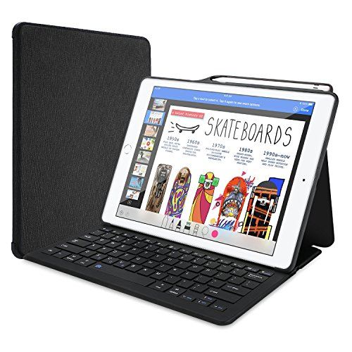 ProCase Tastiera Custodia per iPad Pro 12.9 2017/2015(Inglese US Layout), Pelle PU Cover con Rimovibile Wirless Tastiera Magnetica per Apple iPad Pro 12.9' 2017/2015(Apple Pencil Non Inclusa) -Nero