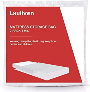 [2-Pack] 4 Mil Thick Mattress Bag Moving, Storage Disposal, Heavy Duty Mattress Cover - Queen Size