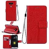Ycloud Funda Libro para LG G5 / LG G5 PU Leather Cuero con Flip Cover Cierre Magnético Función de Soporte Billetera Case con Tapa para Tarjetas Gato Árbol Mariposa Rojo
