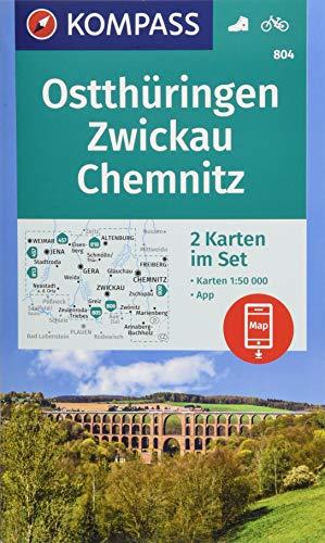 KOMPASS Wanderkarte Ostthüringen, Zwickau, Chemnitz: 2 Wanderkarten 1:50000 im Set inklusive Karte zur offline Verwendung in der KOMPASS-App. Fahrradfahren. (KOMPASS-Wanderkarten, Band 804)