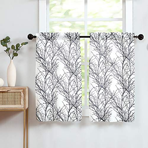 "Fmfunctex White Black Kitchen Curtains for Bathroom Tree Branch Print Small Tier Curtains 24"" Café Curtain Set, 2 Panels"