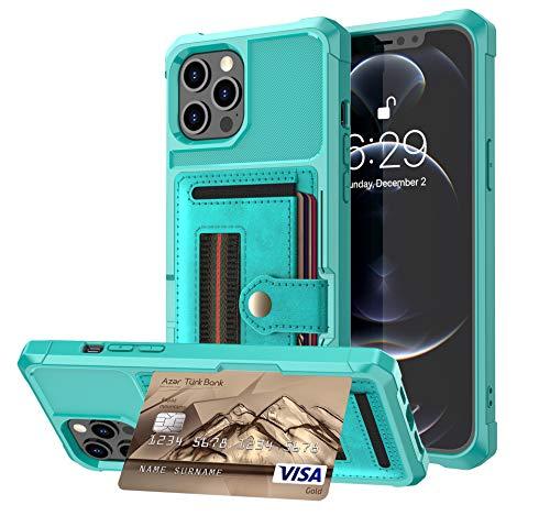 Funda tipo cartera compatible con iPhone 12 Pro Max, cartera con ranura para tarjeta de crédito Crossbody funda con correa de muñeca cubierta protectora (verde, 12Mini5.4')