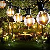 Guirlande Lumineuse Solaire, FOCHEA 7.6M Guirlande Guinguette Extérieur avec 25 Ampoules LED 4 Modes Éclairage, Étanche IP44, Solaire/USB Charge pour Décoration Balcons, Parasol, Jardin, Terrasse