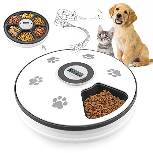 Chintu Automatic Cat Feeders with Digital Clock - 6 Meals Smart Auto...