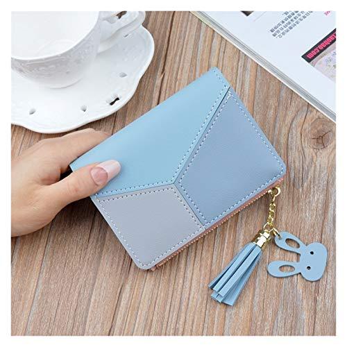 QEEN Mujeres geométricas Lindas Monedas Rosadas Bolsillo Monedero Titular de la Tarjeta Patchwork Wallet Dama Femenina Moda Moneda Back Back Dinero (Color : Blue)