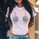 Camisetas Cool Middle Finger Print Women Harajuku Sleeve Ladies Graphic Summer Female Hip Hop Tops Apply To Daily Wear Exercise Running Etc-28112_L