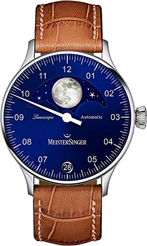Meistersinger Lunascope Herren-Armbanduhr 40mm Armband Leder Automatik LS908