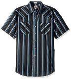 ELY CATTLEMAN Men's Short Sleeve Stripe Western Shirt, Black, X-Large