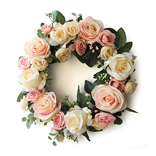æ— Guirnalda de rosas artificiales, corona de rosas rosas, corona de flores artificiales, guirnalda de primavera artificial para puerta delantera, pared, boda, fiesta, decoración del hogar