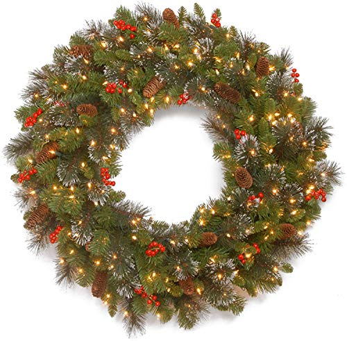 Price comparison product image National Tree Company Pre-lit Artificial Christmas Wreath / Flocked with Mixed Decorations and Pre-strung White Lights / Crestwood Spruce - 36 inch