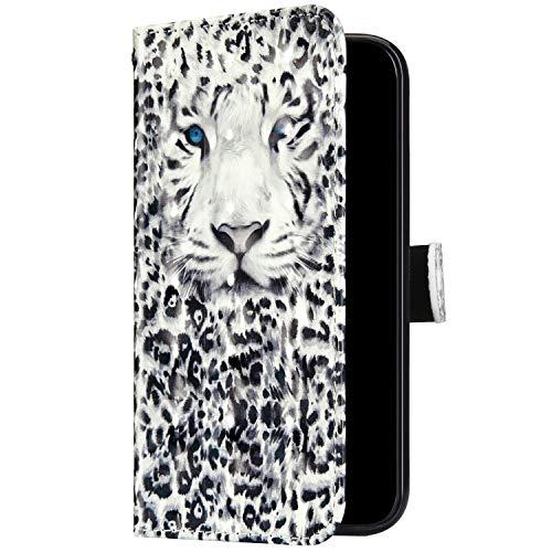 Uposao Kompatibel mit Samsung Galaxy S10 Handyhülle Bunt Bling Glitzer Glänzend 3D Muster Tasche Schutzhülle Brieftasche Leder Hülle Klapphülle Flip Case Kartenfächer Magnet,Weiß Leopard