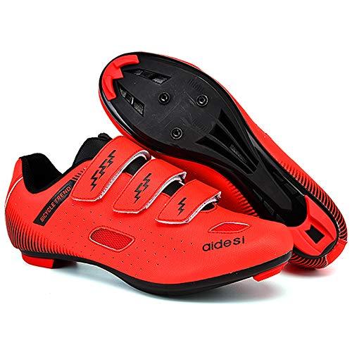 KUXUAN Zapatillas De Ciclismo De Carretera para Hombre,Zapatillas De Ciclismo De Montaña con Candados Zapatillas Deportivas De Invierno para Hombres Y Mujeres/Suelas De Nailon,Red-45EU=(275mm)