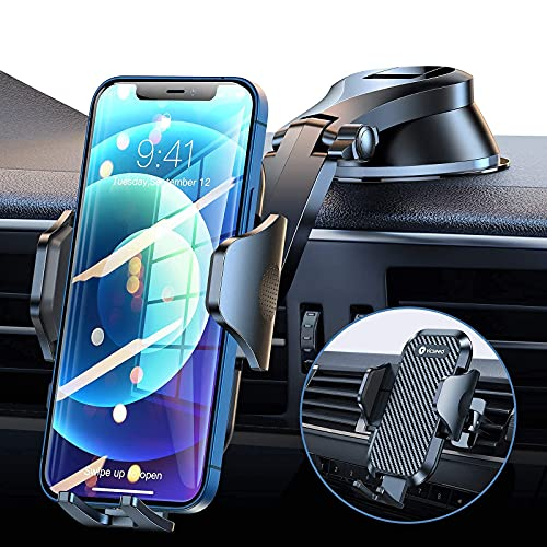 VICSEED Cell Phone Holder for Car, [Doesn't Block View & Thick Case Friendly] Car Phone Holder Mount, Ultra Strong Suction Cell Phone Car Mount Dashboard Air Vent Windshield Car Cradles for All Phones
