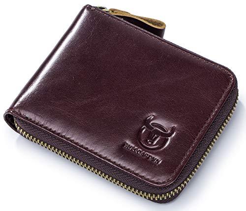 Mens Genuine Leather Zipper Wallet RFID Blocking Bifold Secure Zip Around Wallets Multi Credit Card Holder Purse 2