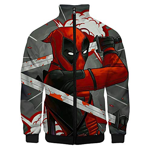 Deadpool Pullover Langarm-Pullover Net Red Sweatshirt Karikatur-Druck Jacken Western Style Coats Bequeme Hoodies All-Match Outwear Unise Unisex (Color : A02, Size : M)