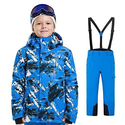 LPATTERN Kinder Jungen/Mädchen 2 Teilig Skianzug Schneeanzug(Skijacke+ Skihose), Blau-Schwarz-Weiß Jacke+ Blau Trägerhose, Gr. 116(Herstellergröße: 120)
