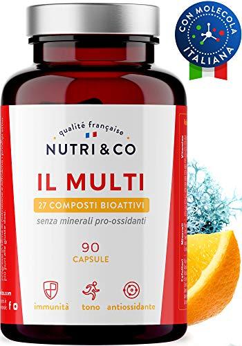 Multivitaminico Multiminerale Antiossidante | 27 Composti Bioattivi | Vitamine A,B,C,D3,E,K2 | Minerali Alto Assorbimento | Integratore per Uomo e Donna | 90 Capsule Prodotte in Francia da Nutri&Co