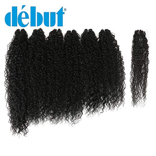 DÉBUT synthetic hair bundles weave bundles 7pcs Afro Kinky curly 22 24 26 inch 220g high temperature fiber (1B)