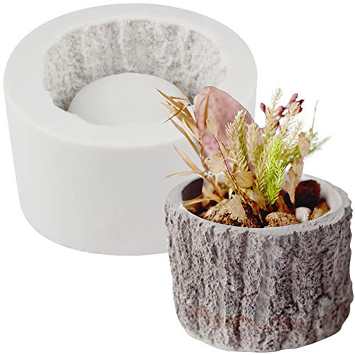 FUNSHOWCASE Tree Stump Flower Pot Silicone Mold for Epoxy Resin Concrete Clay Succulent Planter Ashtray Candle Holder, Small 2.8x2inch