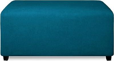 PureFit Fleece Fleece Ottoman Cover (Large, Peacock Blue)