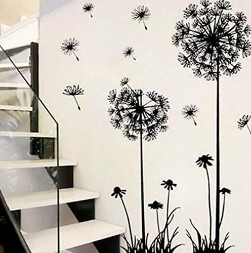 xingxing Adhesivo decorativo para pared con diseño de diente de león negro