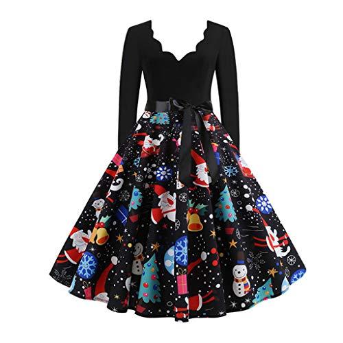 Women's Dresses Retro Lace Stitching Long-Sleeve Dress Merry Christmas Musical Notes Print Audrey Vintage Tea Dress
