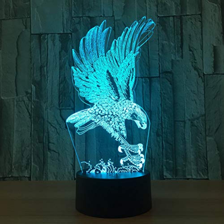 Laofan Mirs 3D Led Lampe Beleuchtung Vogel Eagle USB Schreibtisch Tischlampe Kid 3D Nachtlicht,Fernbedienung