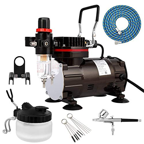 Professional Airbrush Kit with Airbrush Cleaning Pot Brush and a Powerful 1/5hp Quiet Air Compressor Set for Cake Decorating,Model Coloring,Makeup,T-Shirt Painting and More