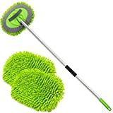anngrowy 62' Microfiber Car Wash Brush Mop Kit Mitt Sponge with Long Handle Car Cleaning Supplies Kit Duster Washing Car Tools Accessories, 1 Chenille Scratch-Free Replacement Head Aluminum Alloy Pole