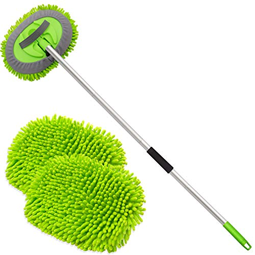 anngrowy 62″ Microfiber Car Wash Brush Mop Kit Mitt Sponge with Long Handle Car Cleaning Supplies Kit Duster Washing Car Tools Accessories, 1 Chenille Scratch-Free Replacement Head Aluminum Alloy Pole