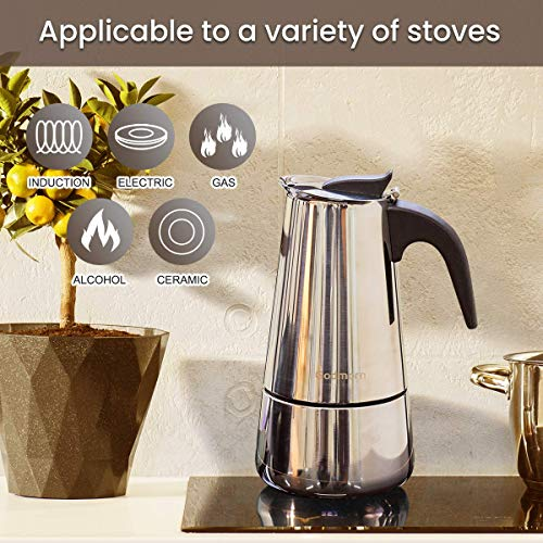 Godmorn Stovetop Espresso Maker, Italian Coffee Maker Moka Pot, 450ml/9 Cup (Espresso Cup=50ml), 430 Stainless Steel Classic Cafe Maker, Suitable for Induction Hob