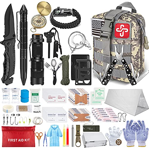 152Pcs Emergency Survival Kit and First Aid Kit, Professional Survival Gear Tool with Tactical Molle Pouch and Emergency Tent for Earthquake, Outdoor Adventure, Camping, Hiking, Hunting