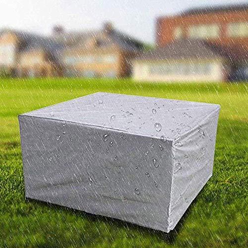 HBBCD Fundas para Muebles de jardín Funda Impermeable para Muebles de Patio Rectángulo A Prueba de Viento Resistente al Polvo Mesa de Patio Silla Fundas para sofá - Plata-Los 210X110X70cm