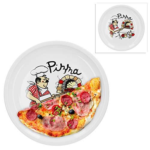 Van Well 2er Set Pizzateller groß Ø 29.5 cm mit Küchenchef-Motiv Gastro-Zubehör Pizza-Bäckerei stabiles Porzellan-Geschirr Grill-Teller Servier-Platte Antipasti
