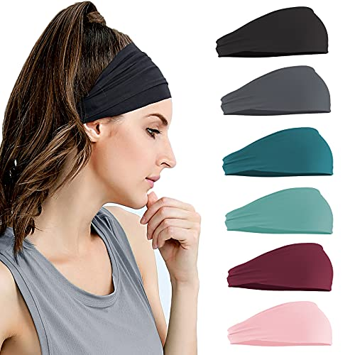 Kapsuen Haarband für Damen, 6er Breit Haarreifen Sport Stirnband Mädchen Elastisch Haarbänder Rutschfestes Atmungsaktives Schweißband für Make-up, Yoga, Laufen, Wanden, Fitness