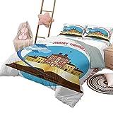 Travel Bedding Duvet Cover Set Viaje por los Lugares más Bellos Cita con avión despegando de un Libro Girls Duvet Cover Set Multicolor con 2 Fundas de Almohada, California King Size