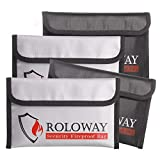 Small Fireproof Bag (5 x 8 inches), Non-Itchy Fireproof Money Bag, Fireproof Wallet Bag, Cash Fireproof Bag Set for Valuables - Passport, Currency & Keys (4-Pack)