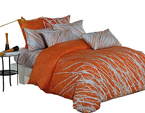 Swanson Beddings Tree Branches 3-Piece 100% Cotton Bedding Set: Duvet Cover and Two Pillow Shams (Orange-Gray, King)