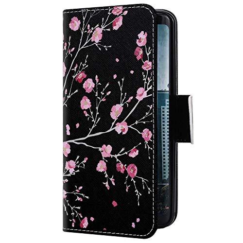 Uposao Kompatibel mit Samsung Galaxy S20 Hülle Leder Wallet Schutzhülle Brieftasche Hülle Bunt Retro Muster Flip Case Leder Tasche Handytasche Magnet Ständer Kartenfächer,Pink Blume