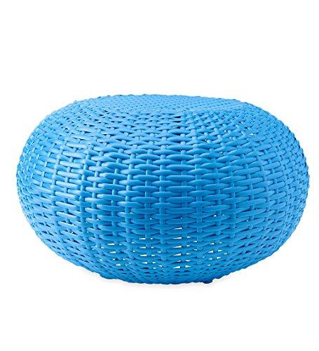 Plow & Hearth 39488-BL Tangier Wicker Footrest Pouf Patio Ottoman, Small - Blue