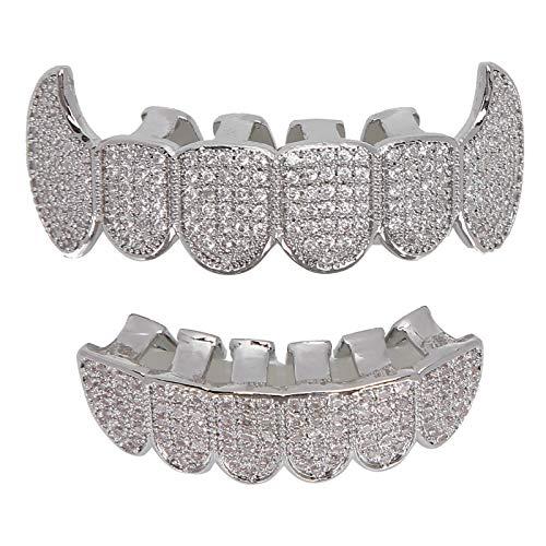 Denti Grillz, Bretelle Grillz Denti Hip Hop Set di grill Microset Bretelle diamantate Denti da vampiro Grillz, Denti simulati con diamante superiore e inferiore Set di griglie(argento)