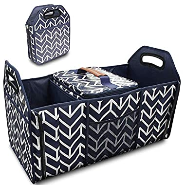 Trunk Organizer, Foldable Car Storage Bag Portable Insulation Cooler Bag Collapsible Vehicle Organizer Divider Storage Totes with 3 Compartment Cargo Tote for Groceries Caddy SUV