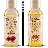 Huile de ricin et Huile d'argan bio pure 100% naturelle (2X50ML) pressée à froid nourrit purifie stimule et renforce la pousse de la barbe,cils,sourcils,ongles et cheveux riche en oméga 6/9 vitamine E