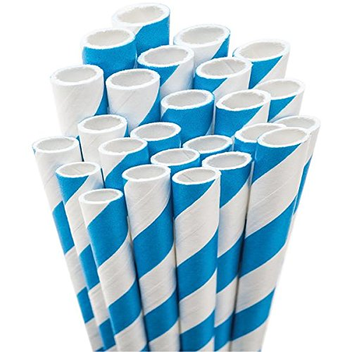 Aardvark Paper Straws Straw-Blue Unwrapped Jumbo Straw, 7.75-Inch, Blue and White Striped, 50/Pkg